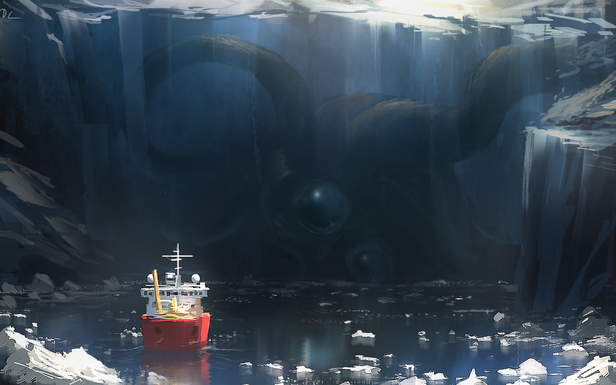 Preserved in ice by Denis Loebner. .. Boy am I glad that he's frozen in there and that we're out here