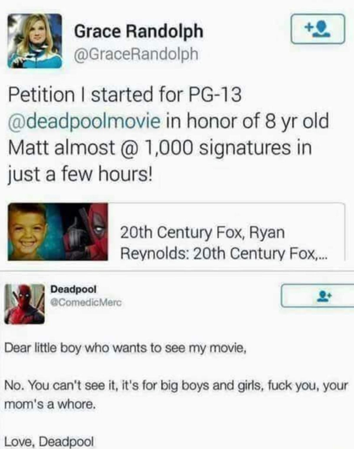 Pretty decent response. join list: MarvelStuff (205 subs)Mention History. Grace Randolph Petition I started for in honor of 8 yr old h/ lan: almost tii) 1. 000
