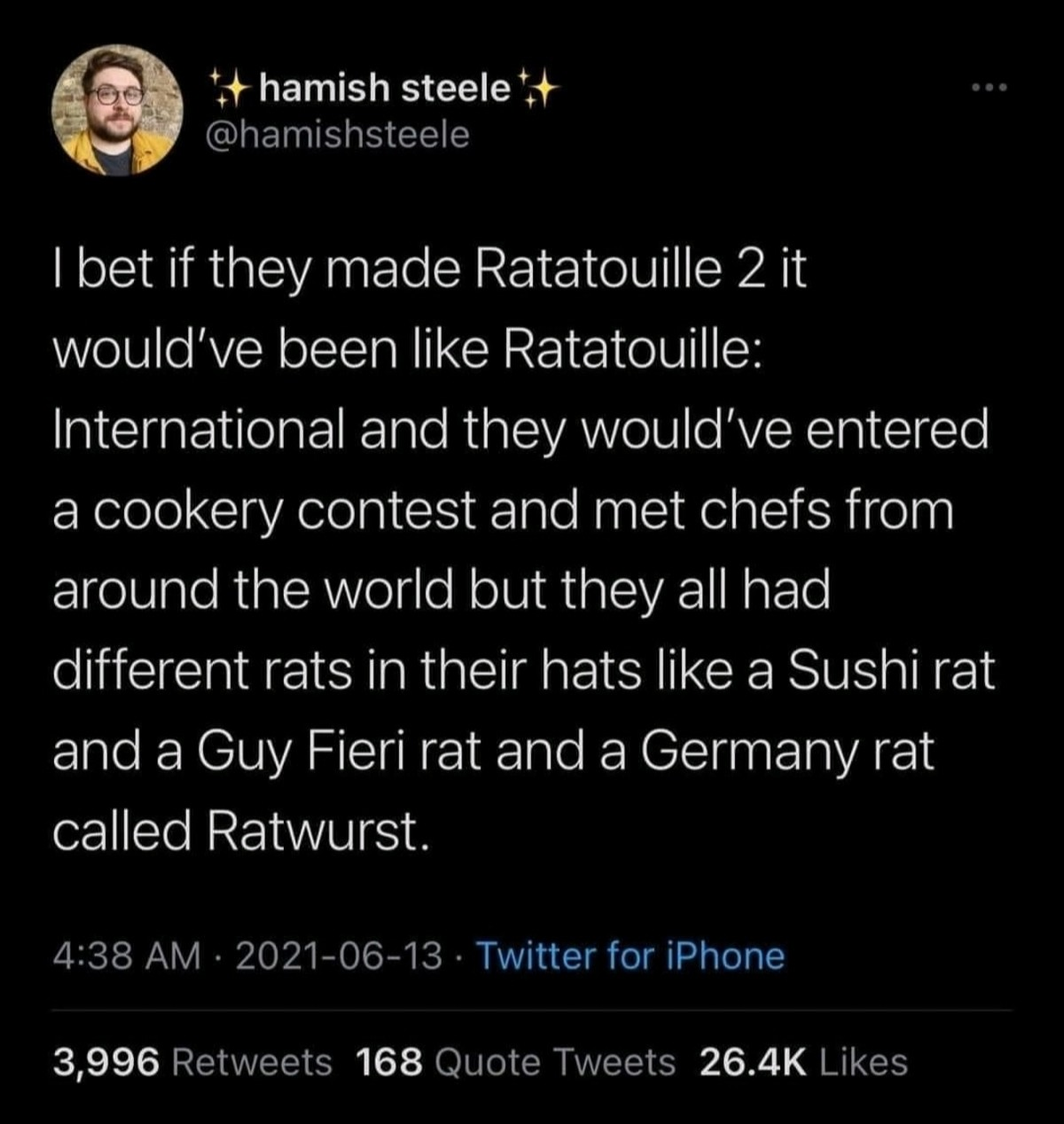 Rats. .. Hang on. Wait I am down for this. It could be like hells kitchen kind of thing. Like they get like kicked off if they fail the cooking tasks. Shenanigans arrive