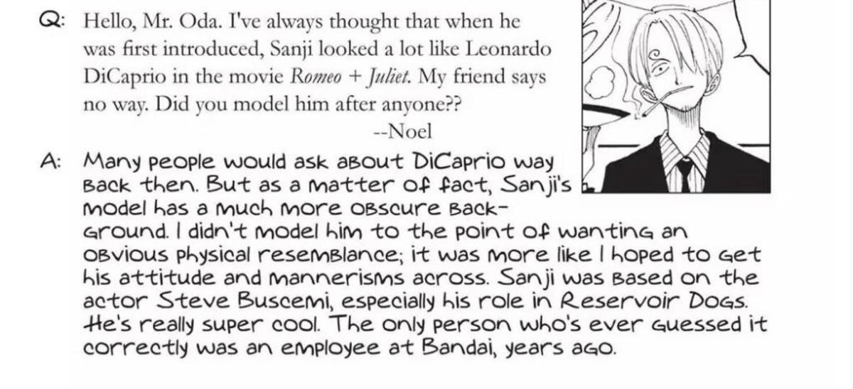 sanji is steve buscemi. join list: onepiece (236 subs)Mention History.. He was really cool in that movie.