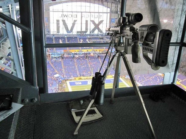 Sniper nest at the Super Bowl. .. Well that's a terrible nest. No straw, no grass or twigs, no soft material. Not even any shiny bits of material! How is he expected to find a mate with a nest l