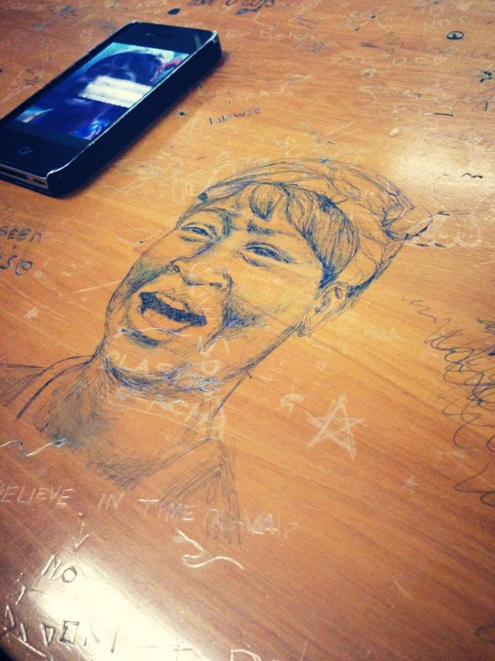 Somebody had time. Happened at my Uni. Victoria University, Wellington, if anyone's wondering. I didn't draw it, or take the photo. I simply didn't have time... believe in time travel!