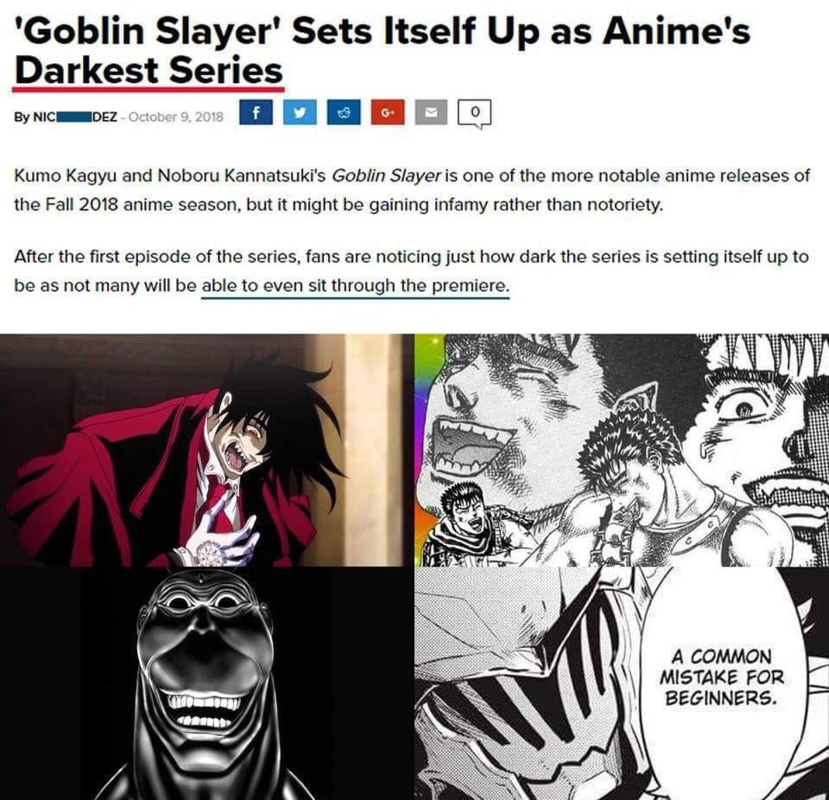 """something something Dark souls of anime. join list: CartoonsGalore (168 subs)Mention History.. The one difference between goblin slayer and the of dark animes out there is that GS successfully baited normies by having the appearance of your average """""""