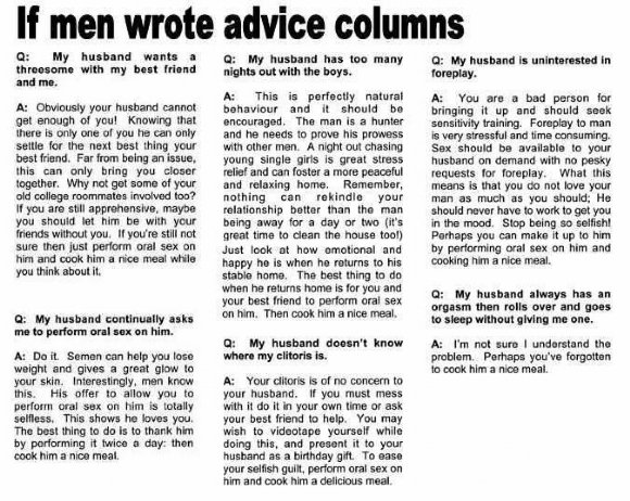 something i found. . If men wrote advice columns Hanan moth my boot [Will mirth. A: your halo comm not enough of not Known: that with tor In tatted but who you