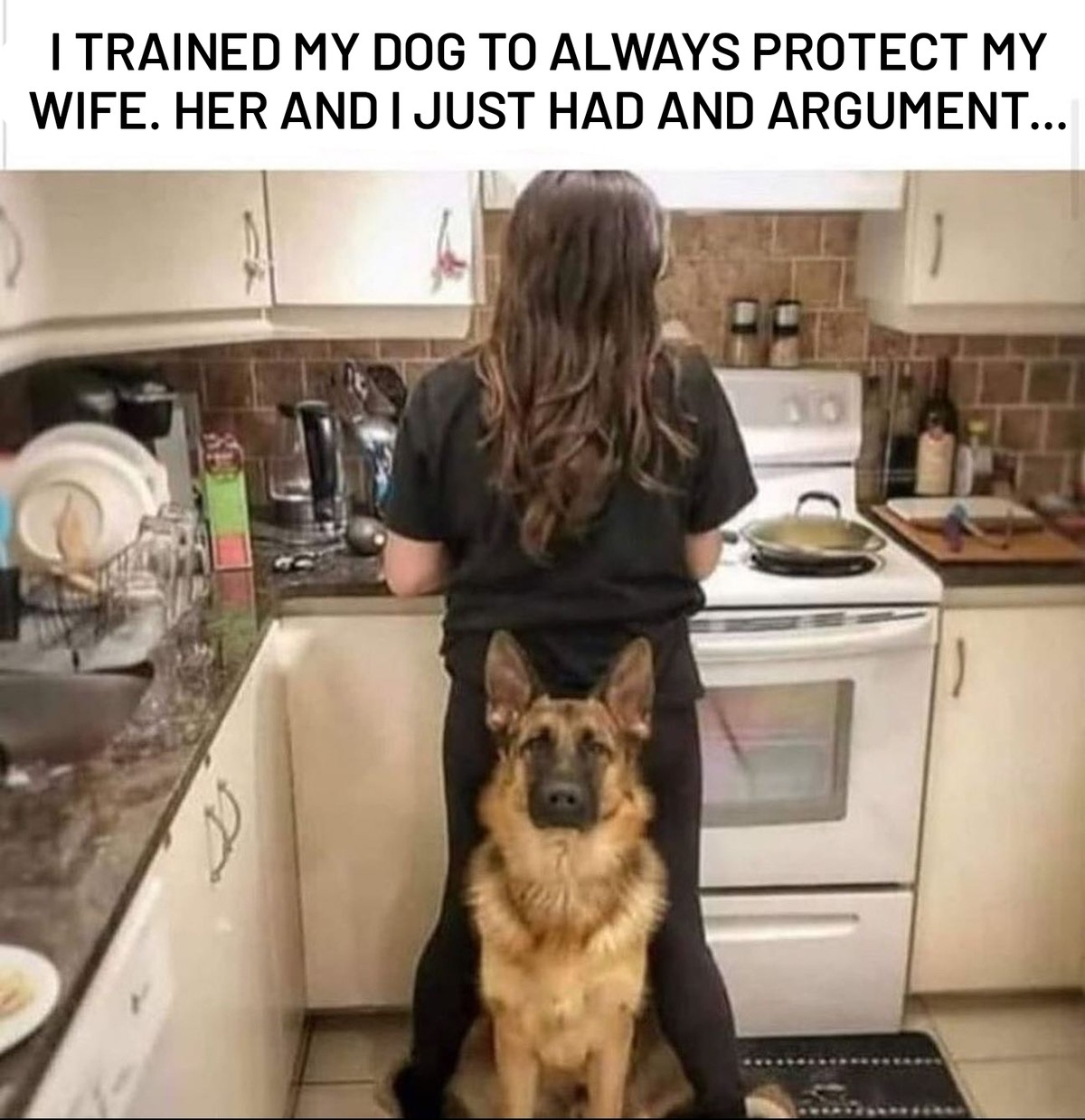 """""""Sorry, sir, still not off-duty."""". .. >when you train your dog to protect your wife but it tries to protect her from you"""