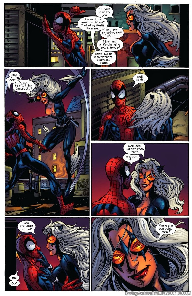 Spider-Man VS. Black Cat. Zero to THIS I'M OUTTA HERE, like, real quick. Ultimate Spider-Man Issue #85 Holy FP two days in a row! Thanks you lifeless husks of w