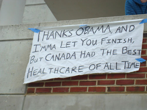 Thanks Obama. Poor, stupid Kanye.. Canada does have better health-care than the USA!!