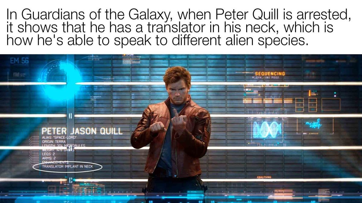That's a cunning linguist. join list: MarvelStuff (205 subs)Mention History. Guardians of the Galaxy, when Peter Quill is arrested, it shows that he has 'st) tr