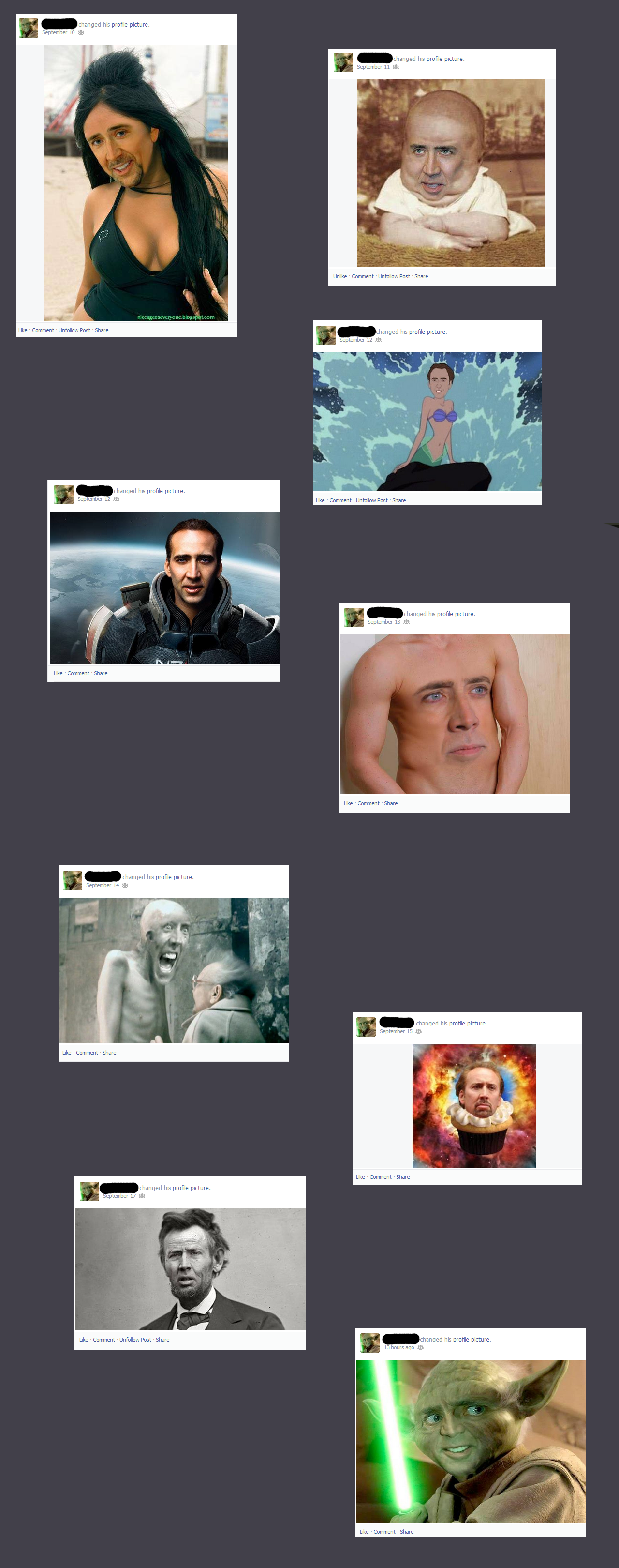 The Caged Man (read desc). A friend of mine has started changing his picture to Cage for a while, and claims he will do it for the full month. He has become kno