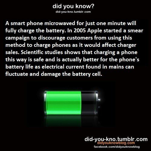 The more you know... Look at the tags. did you know'? oh doyou- lino from bl r cons A smart phone microwaved for just one minute will fully charge the battery.