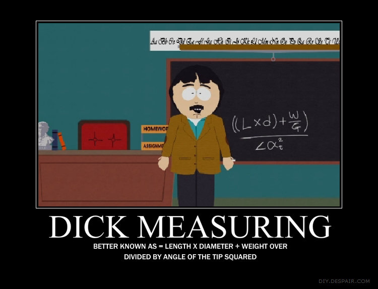 The Science of it. :3. MEASURING BETTER KNOWN AS = LENGTH X DIAMETER + WEIGHT OVER DIVIDED BY ANG LE THE TIP. .... who else is going to use this equation?