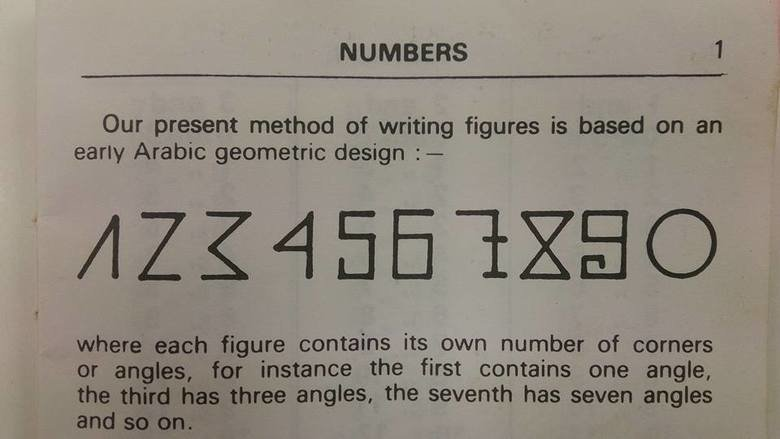 This has blown my mind. . NUMBERS 1 Our present method of writing figures is based on an early Arabic geometric design :- where each figure contains its own num