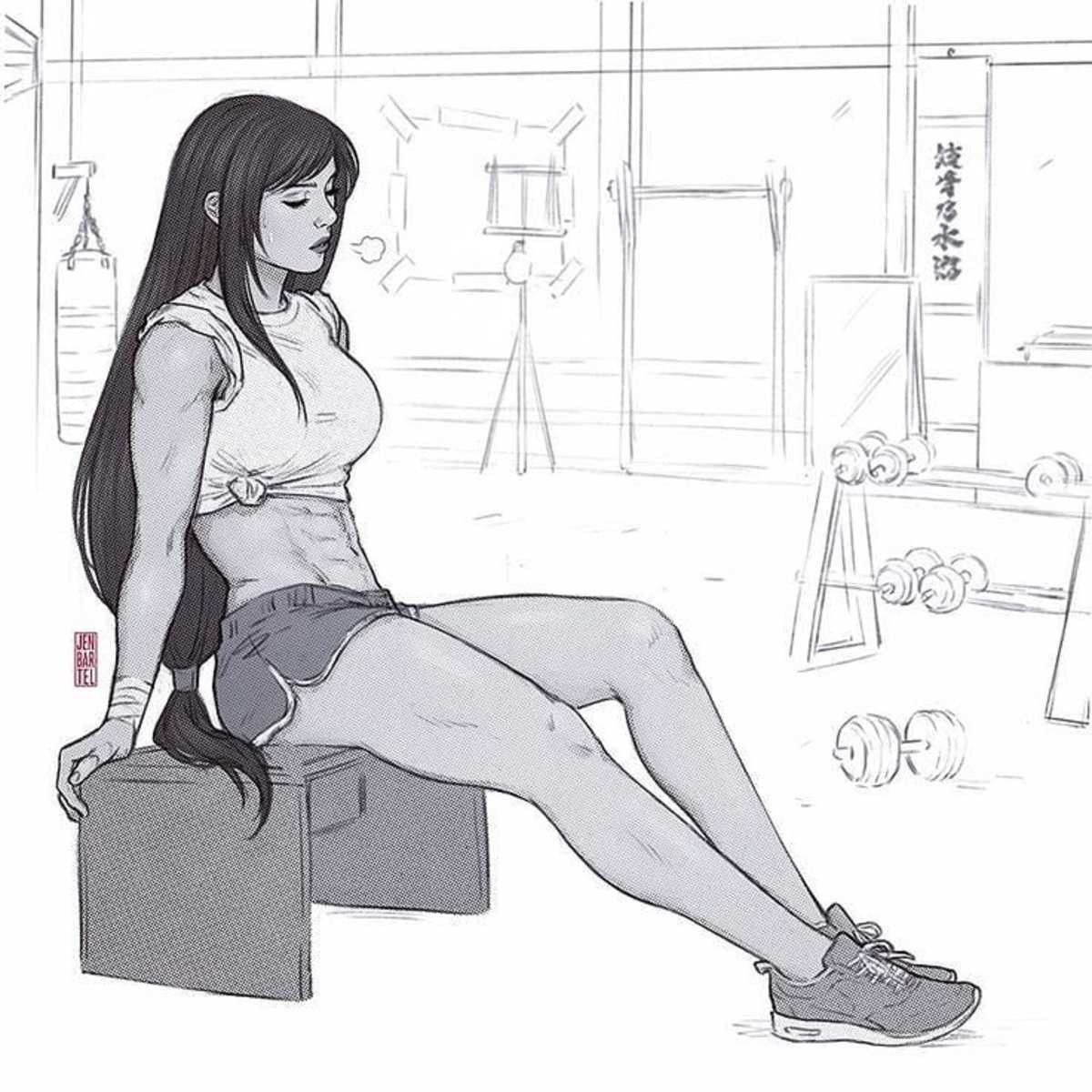 Tifa after workout. .. And now for the follow up workout.