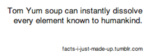 Tom Yum Soup. . Tom Yum soup can instantly dissolve every element known to humankind. dumt stott. Seems legit.