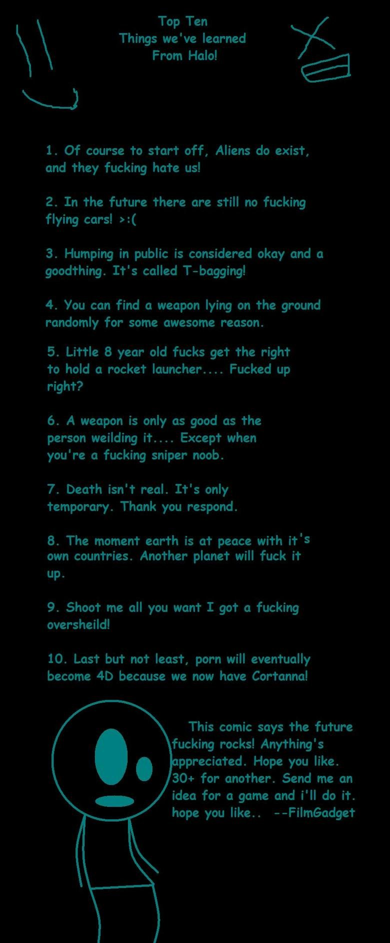 Top ten things we've learned from Halo!. I was playing some video games and thought I'd make one. This is all original content. Complete legit. So read it and g
