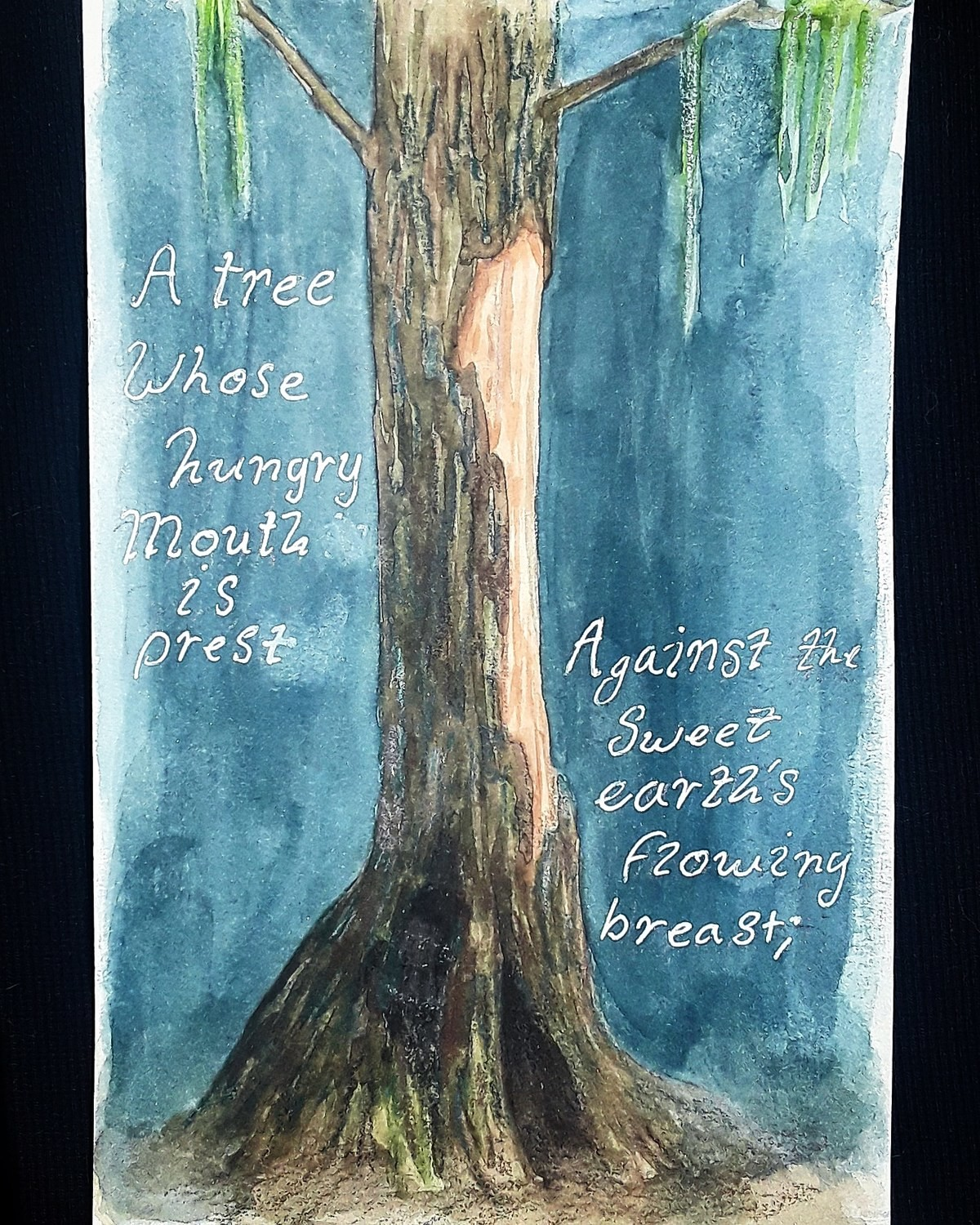 """""""Trees"""" Illustrated (2). """"I think that I shall never see A poem lovely as a tree. A tree whose hungry mouth is prest Against the sweet earth's flowing brea"""