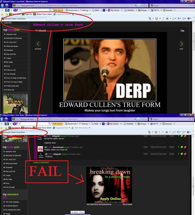 Twilight add fail. I saw this and REposted it cause i was new to funnyjunk, its not a repost, more like a DOPE, try again... post. This is why i joined funnyjun