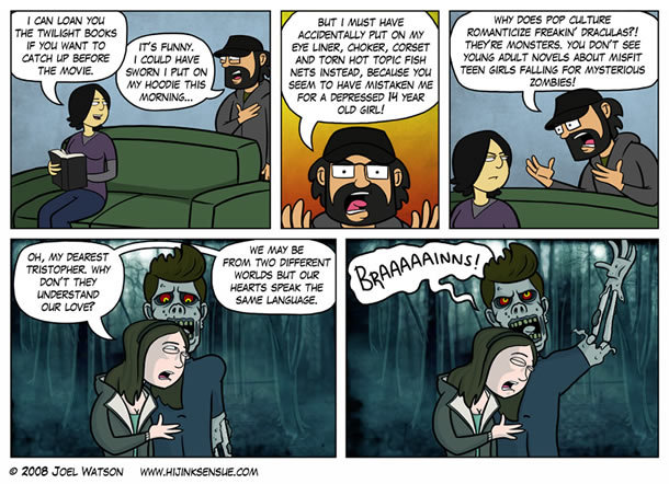 Twilight zombies. i loled.. Its true, leave the vampires alone! They were cool before Twilight made them pussies.