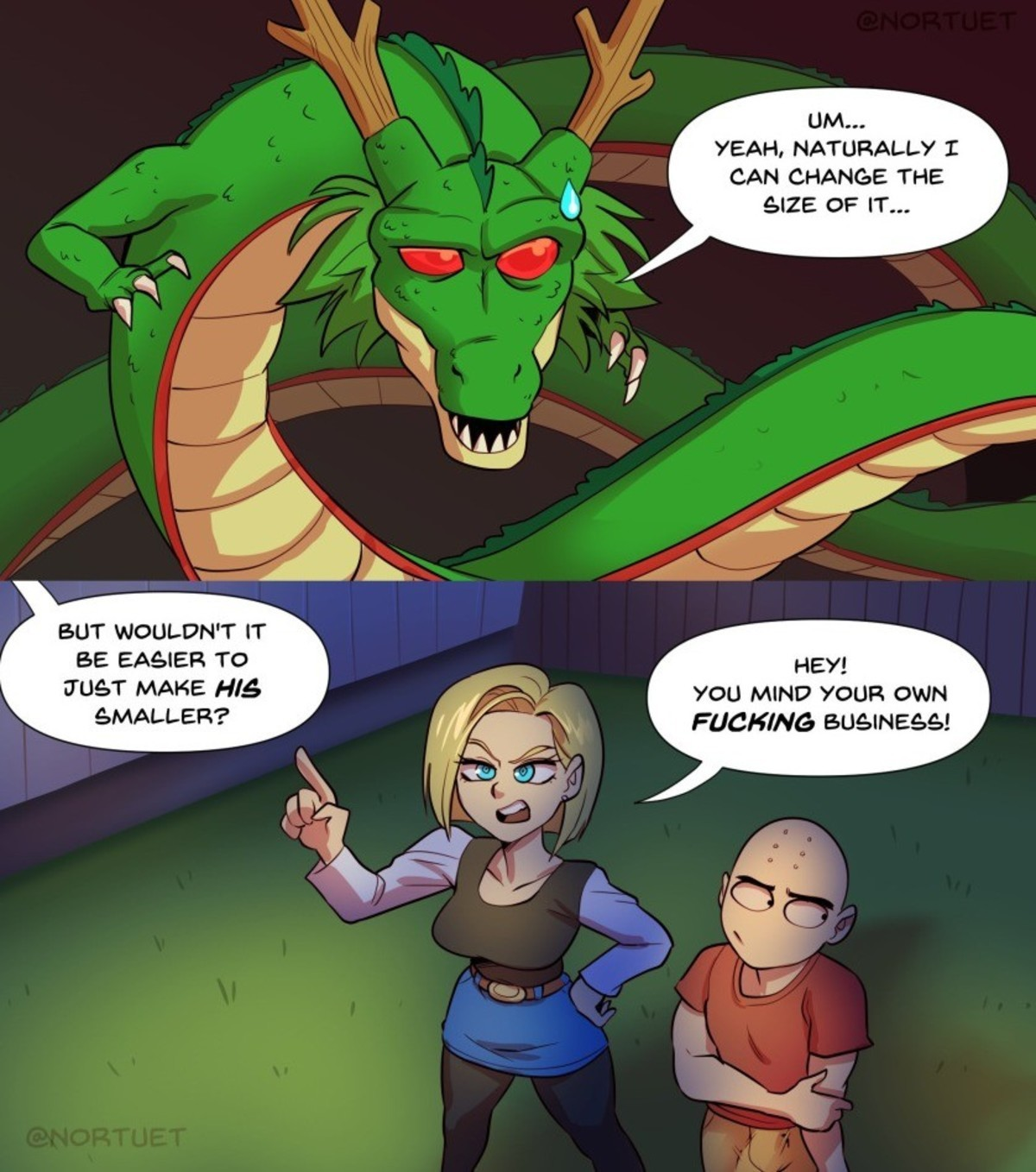 uncovered Sardine. .. Android 18 wished that she had a larger penis