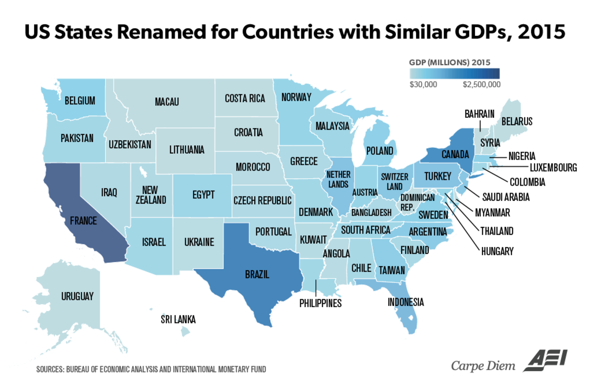 US States renamed for countries with similar GDPs. To all burgers in Burgerland! Depending on which state you live in, you have just been transported to the cou