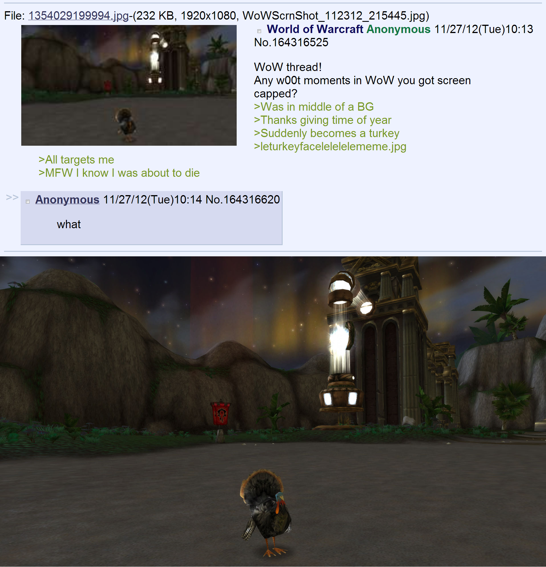 /v/ people in a nuttshell. Brau5ing /v/ and finds this poor guy.. wow players in a nutshell