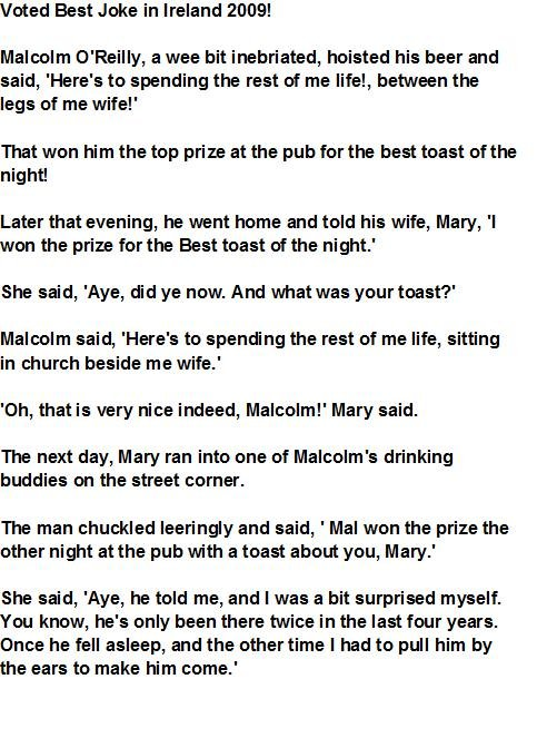 Voted Best Joke in ireland. Thumb up if you ROTFLOL. to the front page!<br /> edit why it not at the top yet?. Voted Best Joke in Ireland EDGE! Malcolm ,