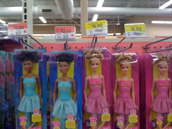 Wal-Mart Fail. I love my Wal-Mart!.. the black doll comes with aids,2 kids,and a welfare check