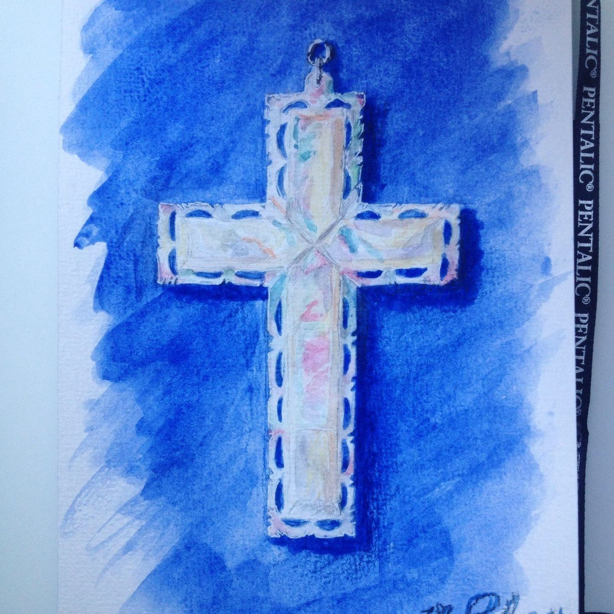 Watercolor Cross. join list: WatercolorAndOrInk (43 subs)Mention History This is a beautiful cross from Jerusalem my godmother got me for Easter. <3 Watercol