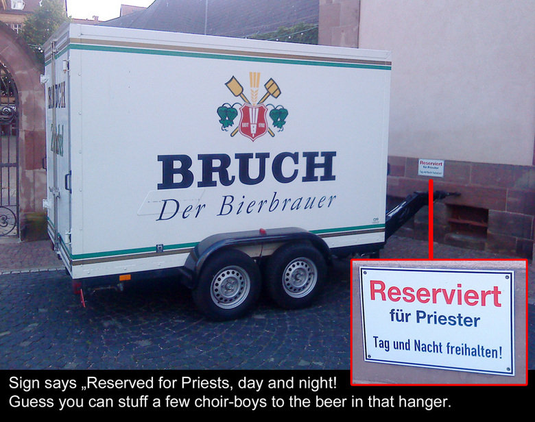 What A Priest Needs. Priest needs<br /> Free Parking, Booze, Boys.