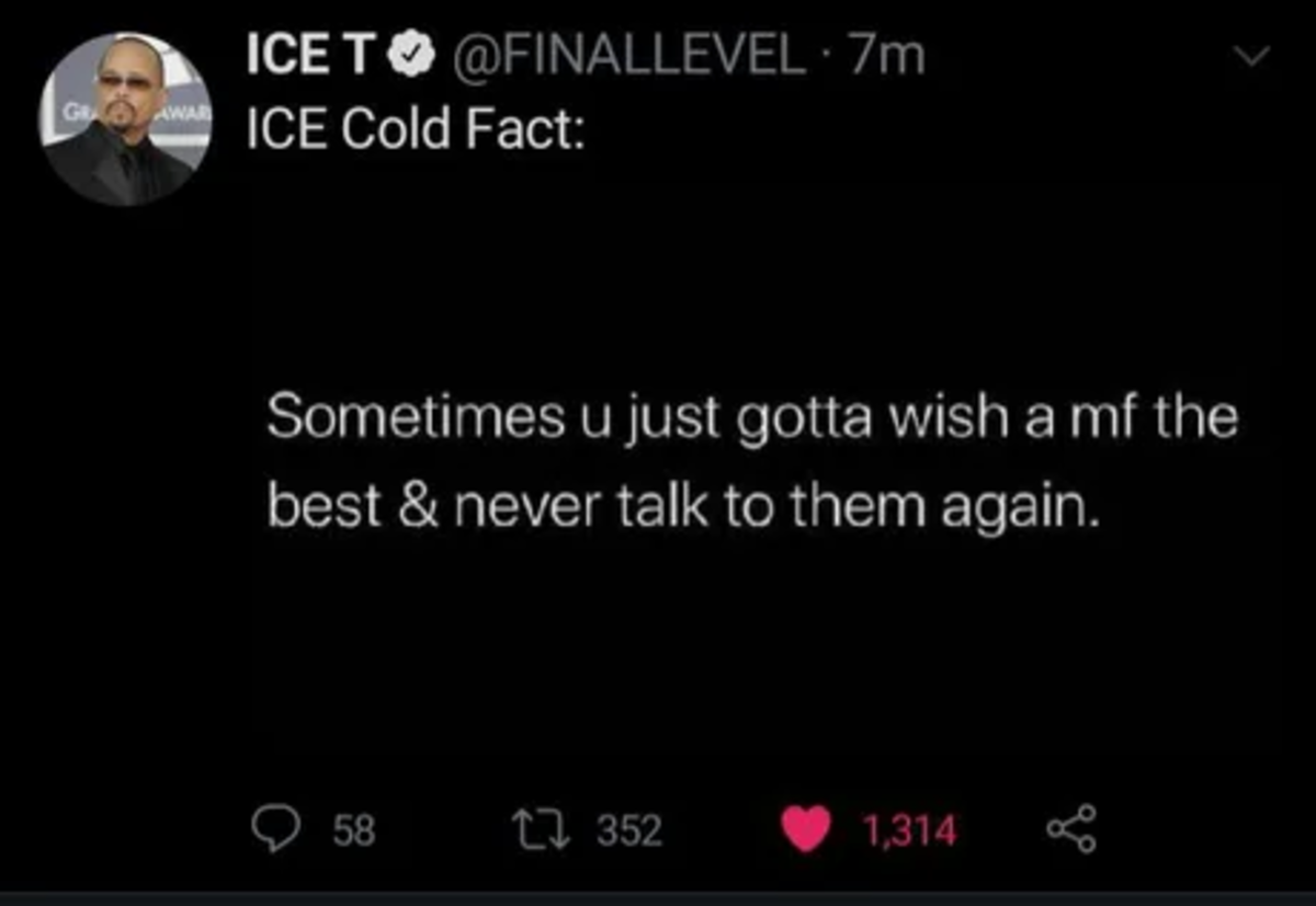 wry Kingfisher. .. Ice T is so full of himself but man does he put out some truth sometimes.