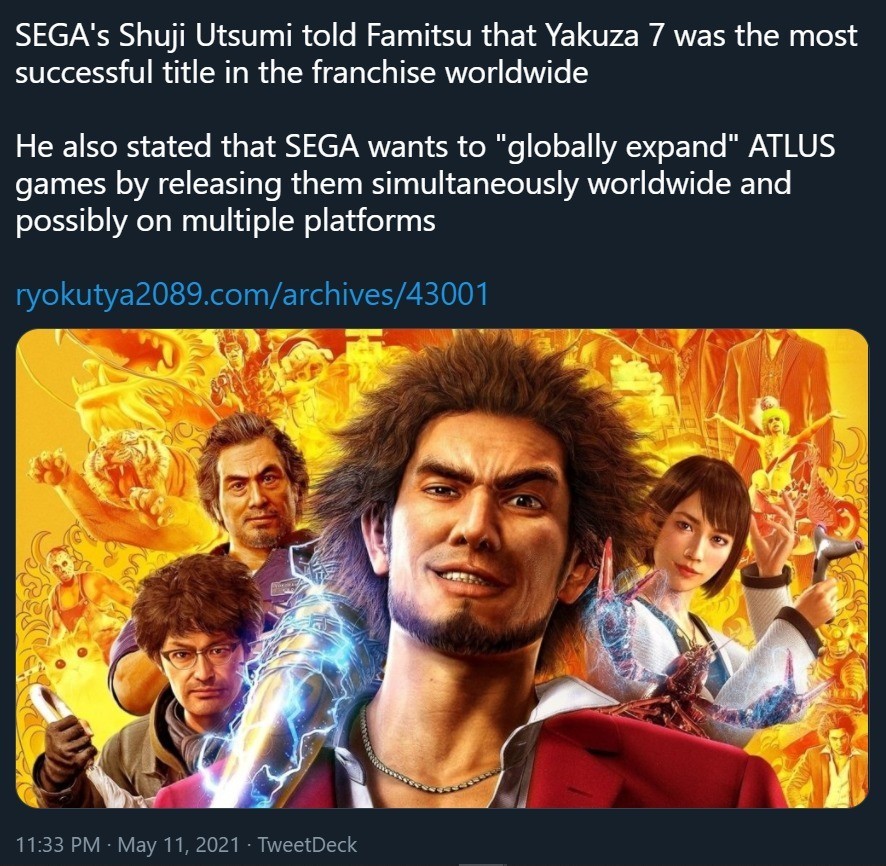 Yakuza LAD the most successful game in the series. .. Wooo!