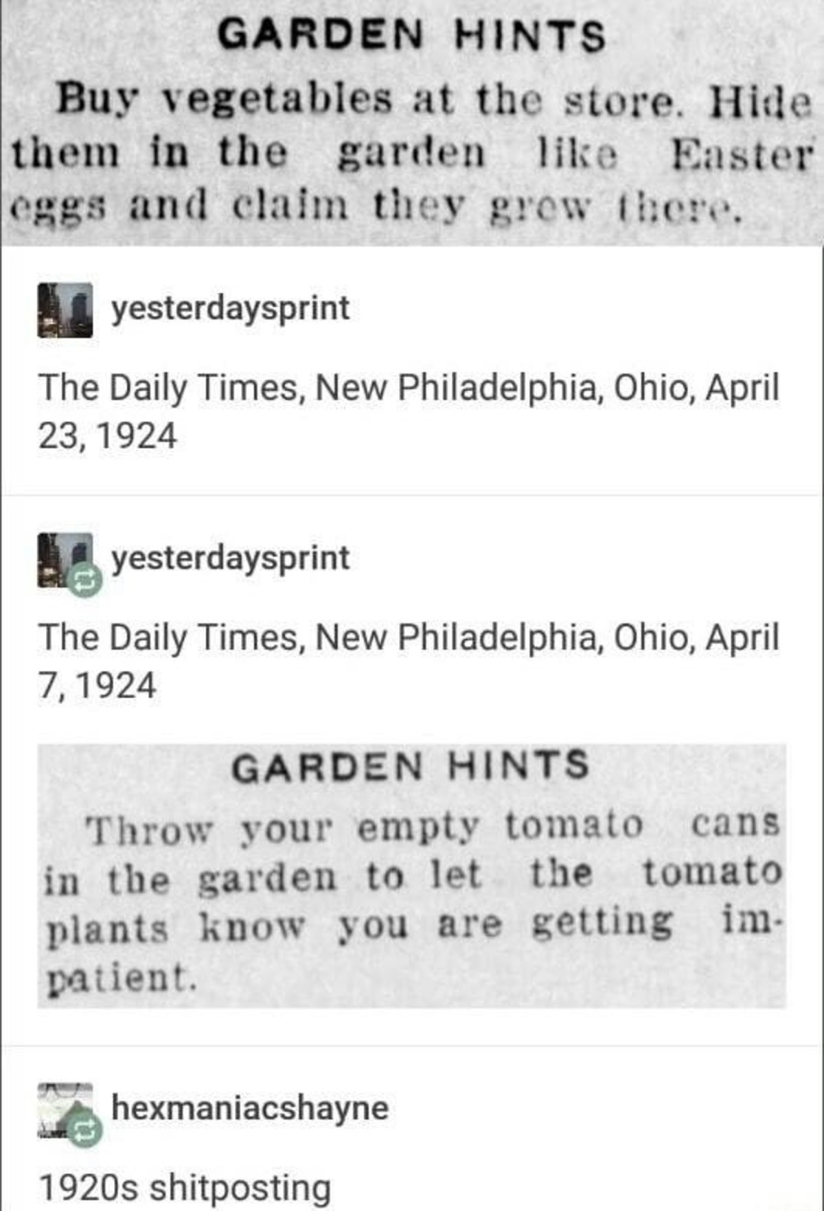 Ye olde post. . GABON! My valuables at the tore. Hide than In the garden like Potater' gun ' claim they grow there. l yesterday sprint The Daily Times, New Phil
