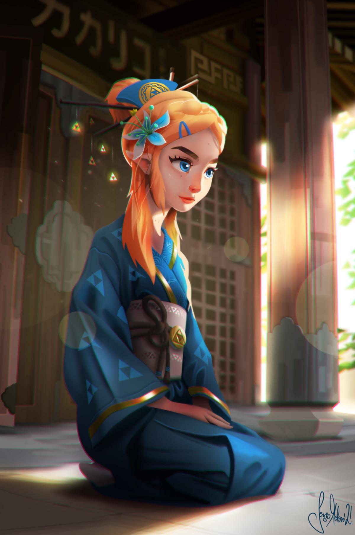 Zelda in Yukata by sermella. .. What a long neck