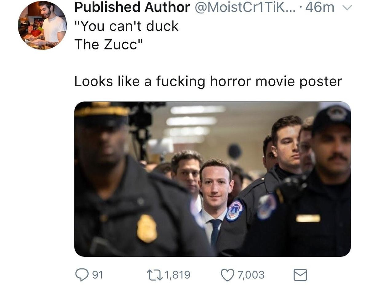 Zucc my . .. That guy just had to look at the camera like that.